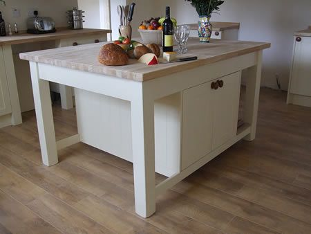 Large Freestanding Kitchen Island With Double Cupboards Beech Worktop