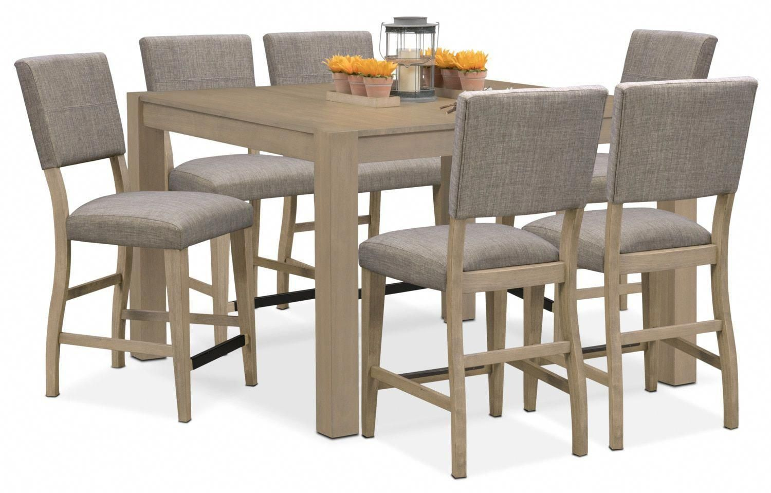 Bar height square kitchen table  Tribeca CounterHeight Table And  Upholstered Side Chairs  Gray