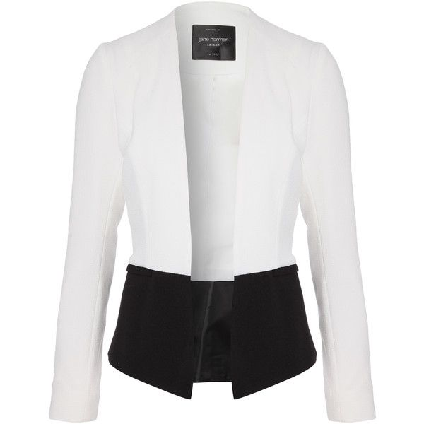 Jane Norman Monochrome Peplum Blazer (305 NOK) ❤ liked on Polyvore featuring outerwear, jackets, blazers, tops, coats, peplum jacket, peplum blazer jacket, jane norman, peplum blazer and blazer jacket