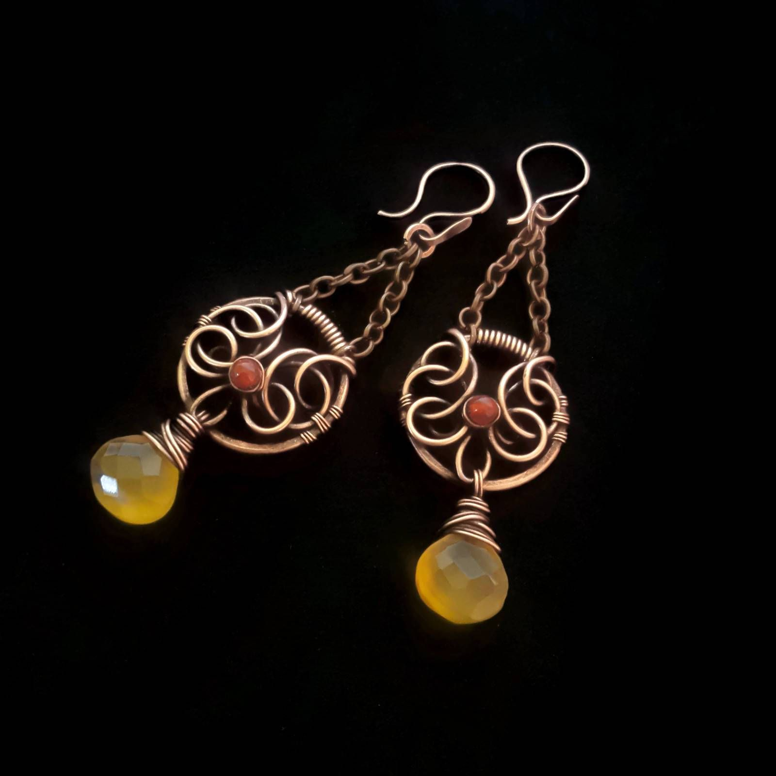 Yellow chandelier earrings copper wire earrings yellow yellow chandelier earrings copper wire earrings yellow chalcedony earrings wire wrap earrings wire chandeliers gemstone earrings arubaitofo Choice Image