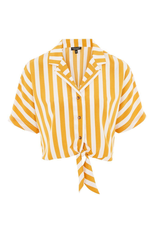 d9d4d21dd2fa1c Stripe Cropped Tie Shirt in 2019
