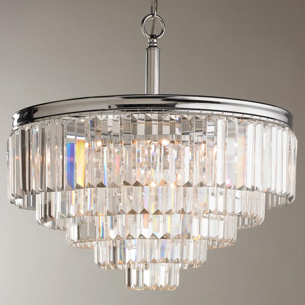 For double chandelier in formal dinging room - Modern Faceted Glass Layered Chandelier - Convertible (Chrome)