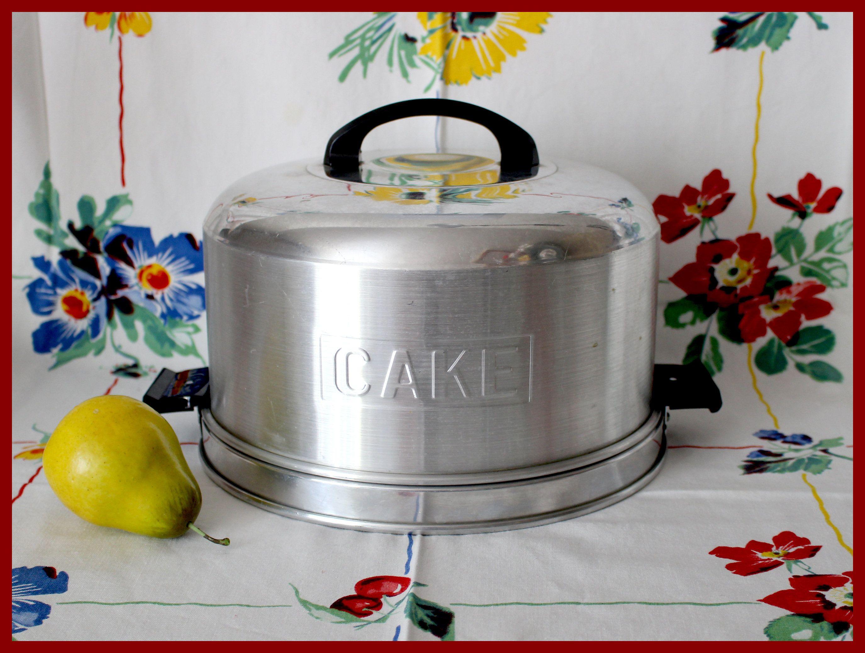 Kromex cake saver cake carrier brushed aluminum locking