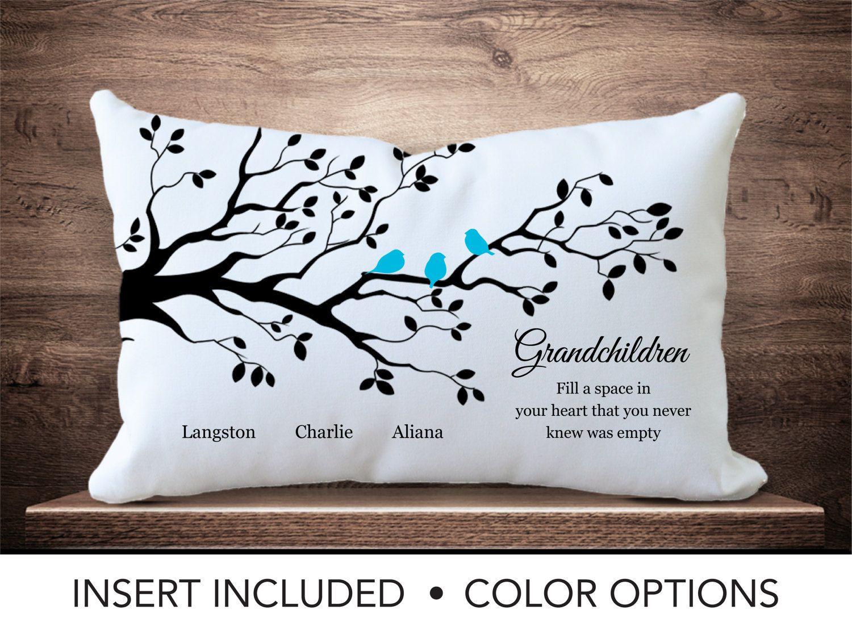 Grandchildren Family Tree Pillow - Personalized grandparent gift ...