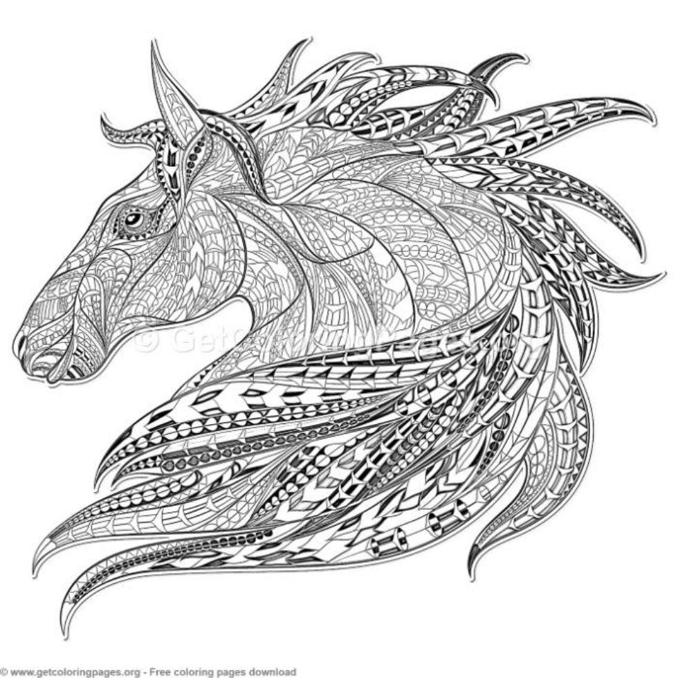 Patterned Zentangle Horse Coloring Pages Getcoloringpages Org Horse Coloring Pages Horse Coloring Coloring Pages