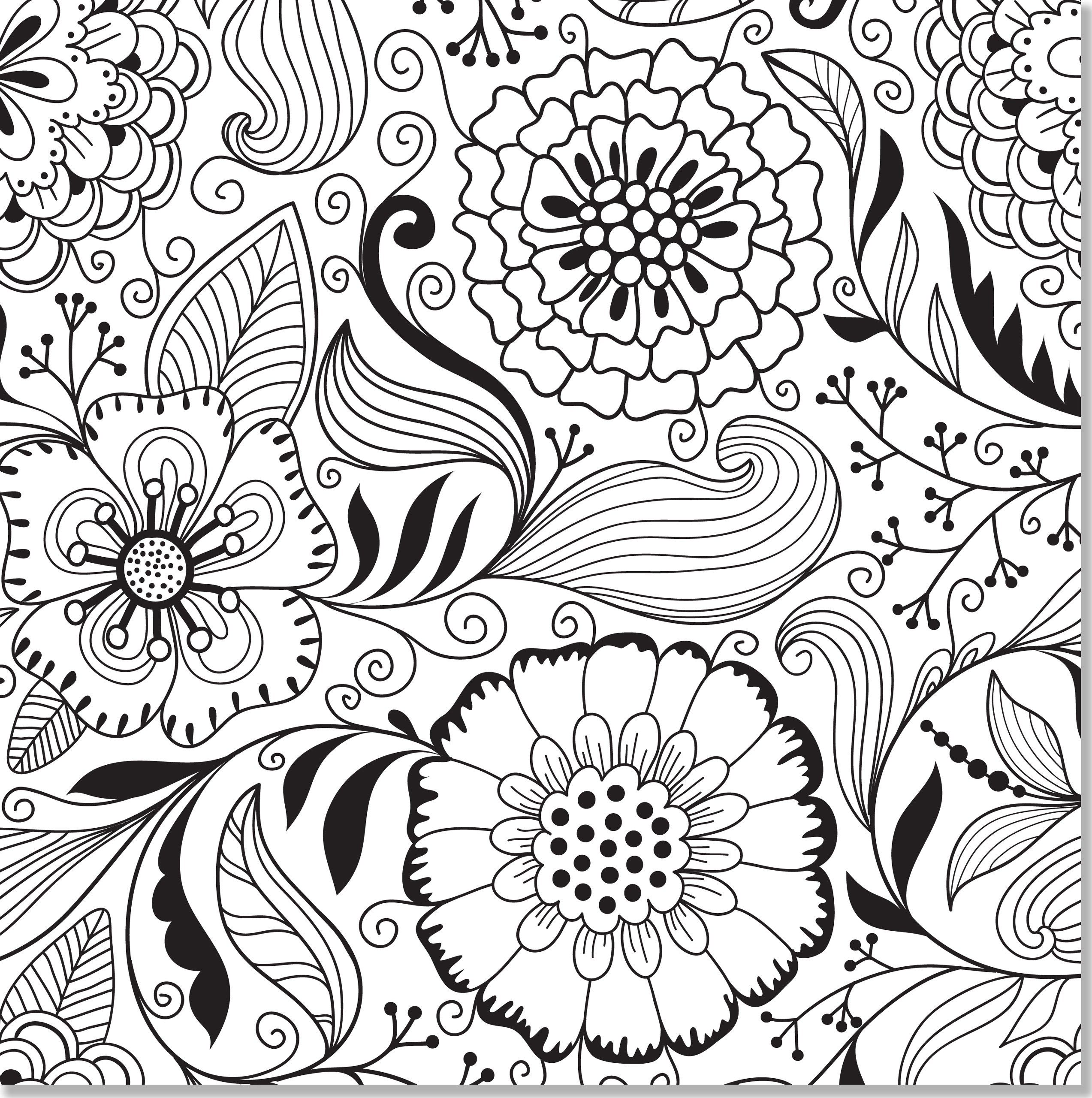 Stress relief coloring sheets free - Butterfly And Flower Coloring Pages For Adults Free Printable