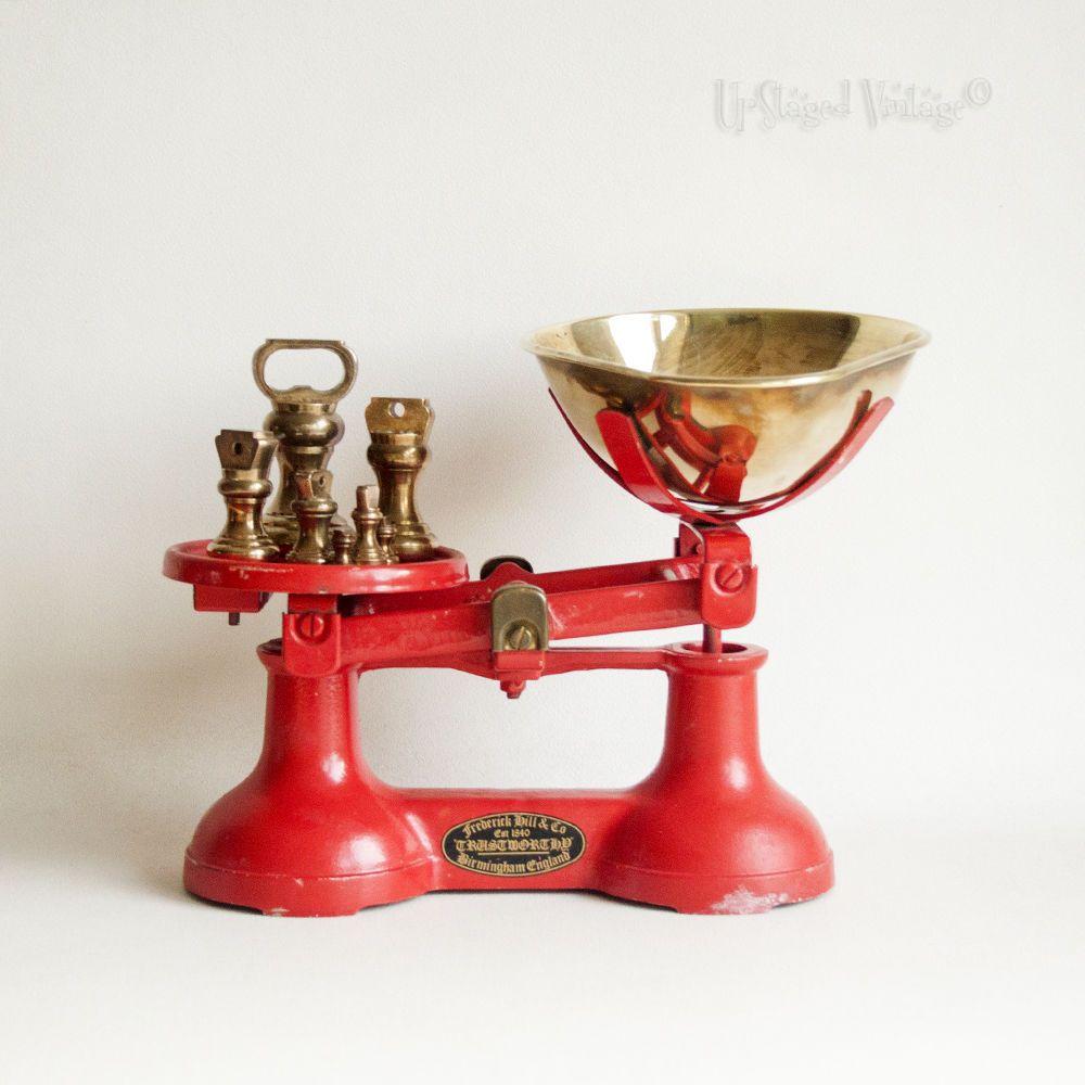 Retro Kitchen Scales Uk Vintage Red Iron Frederick Hill Kitchen Scales Brass Bell