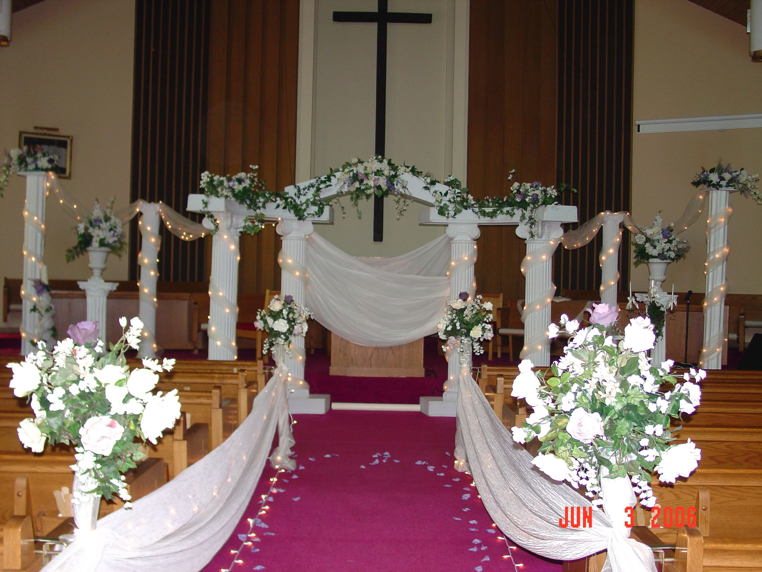 Church Decor Colonnade Set Accented With Additional Columns And Florals