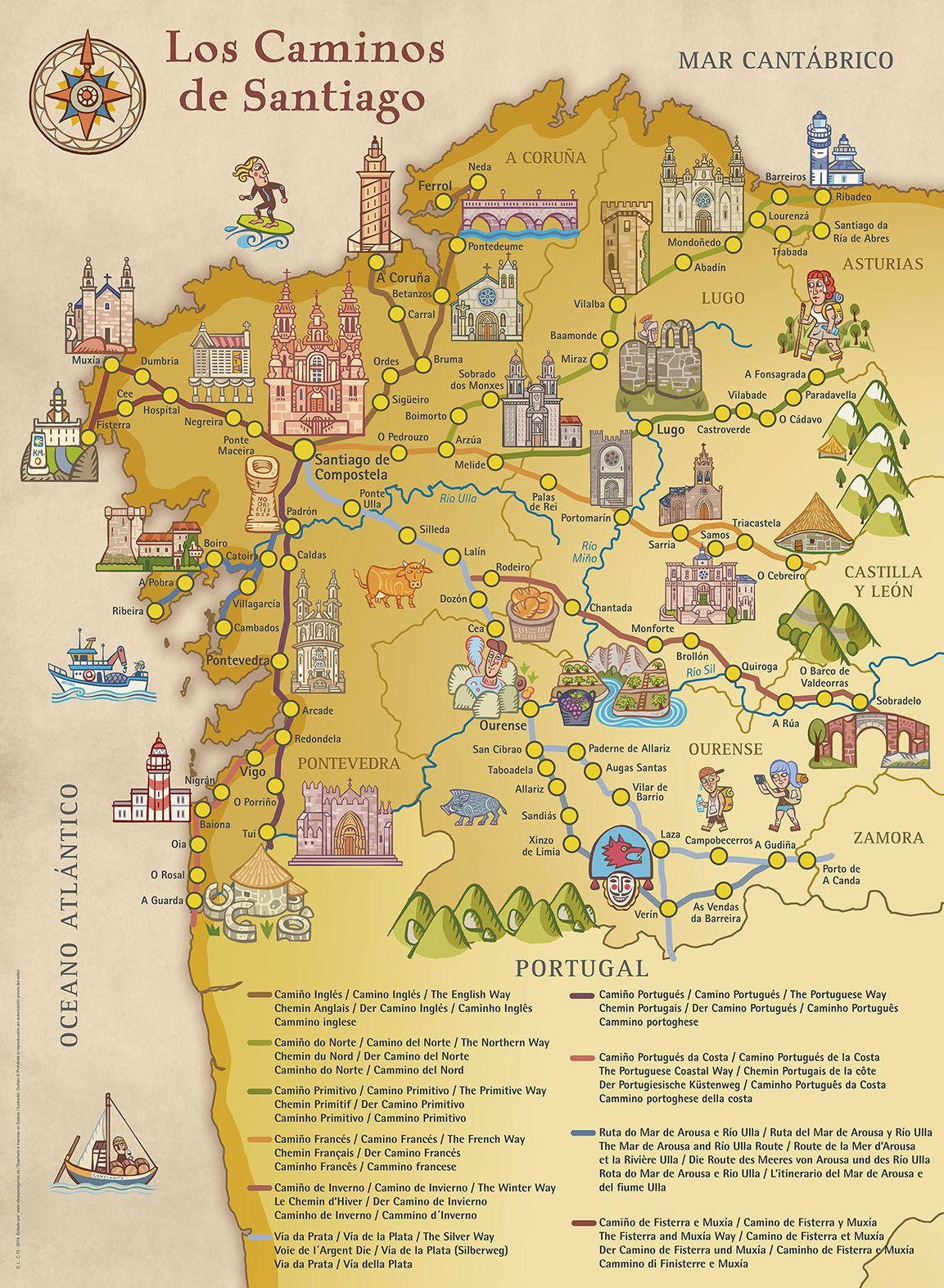 Mapa De Los Caminos De Santiago In 2020 Galizien Landkarte Reisen