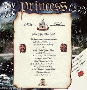 Invitations Scroll Fairytale Princess Castle B Theme Wedding