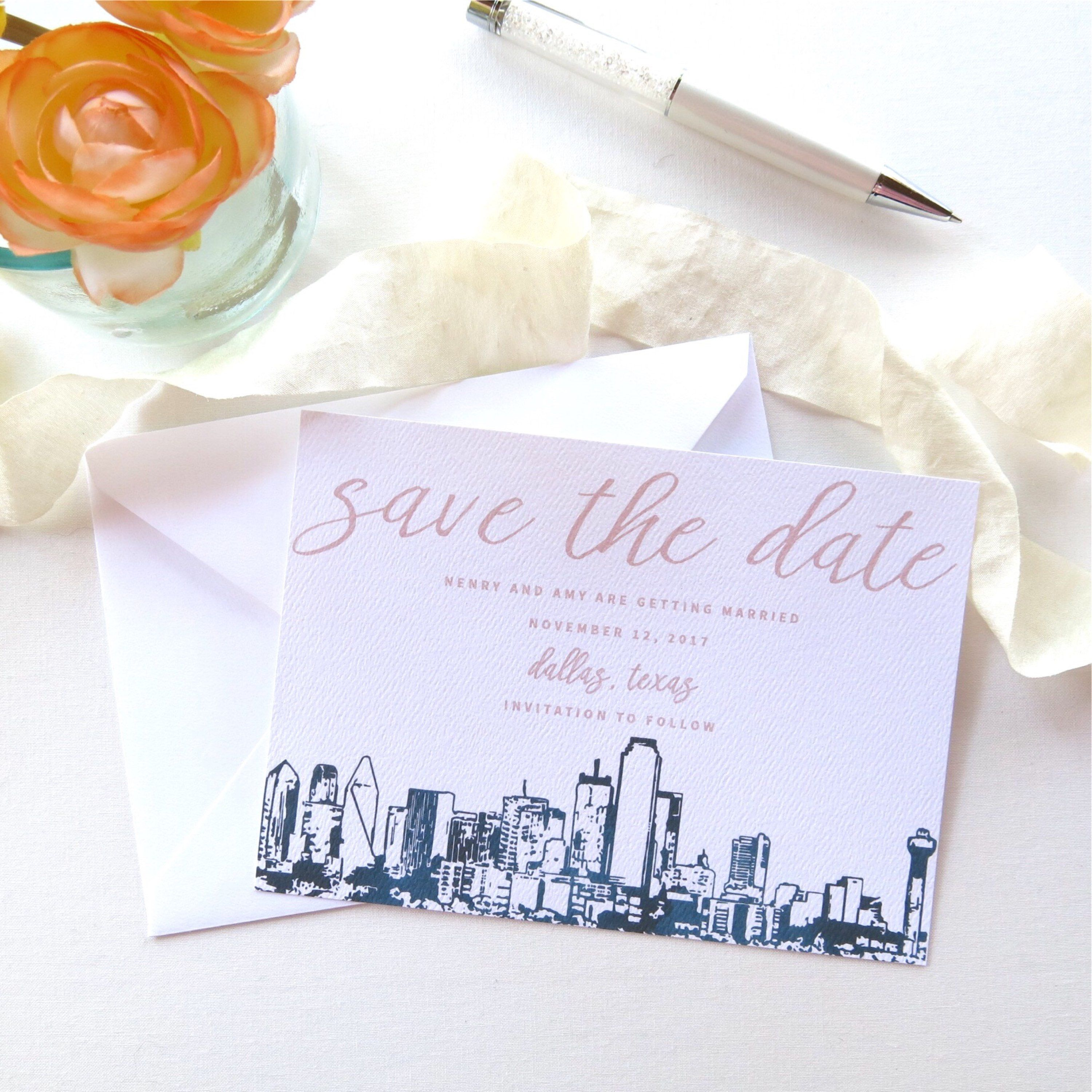 Dallas Skyline Save The Date Cards A7 Size Dallas Wedding Etsy Save The Date Cards Dallas Wedding Save The Date