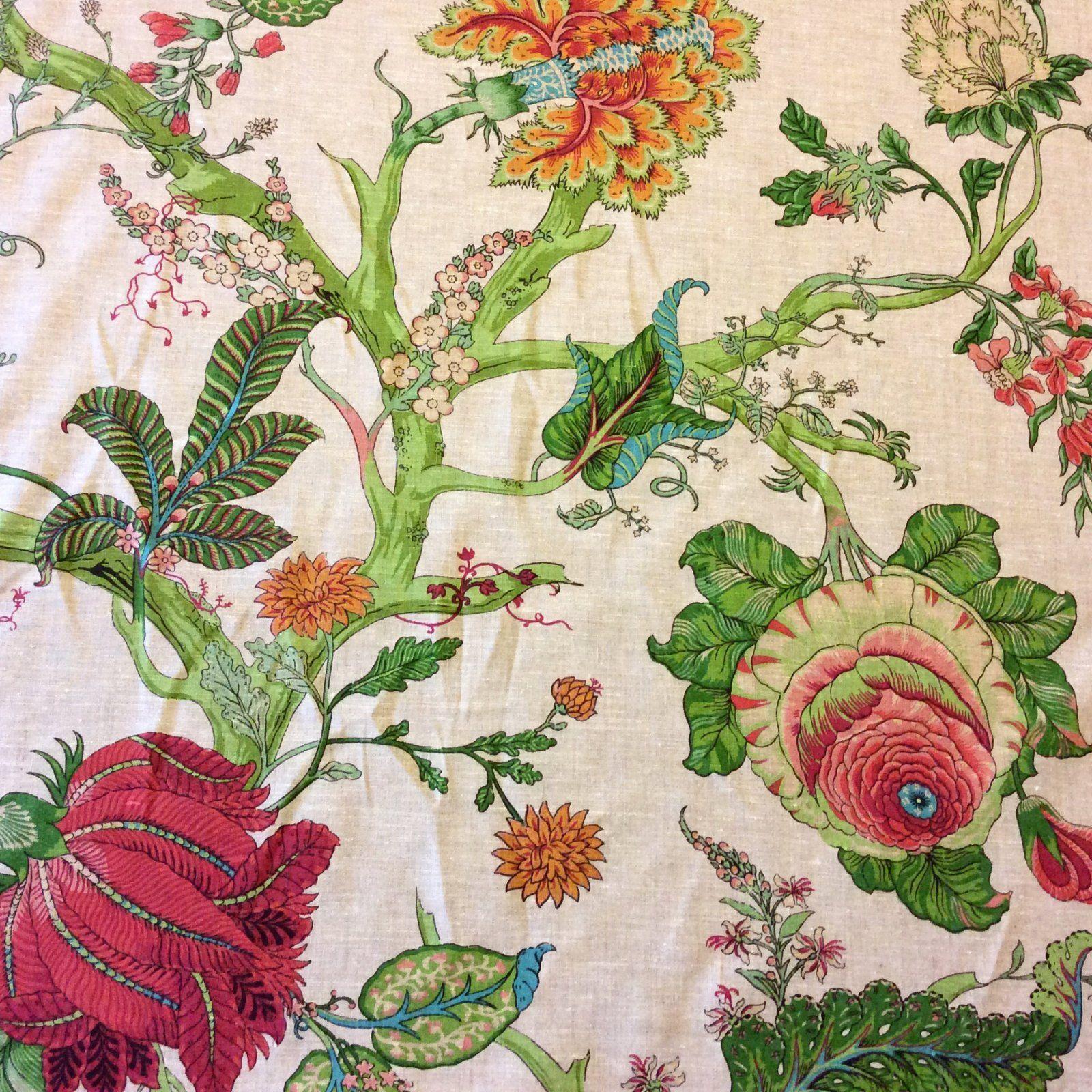 Cv104 Retro Linen Floral Tropical Garden Upholstery Drapery Home Decor Fabric