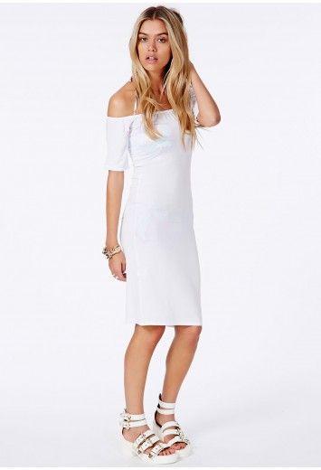 5e863806432e7 Dreya White Bardot Beach Cover-Up Midi Dress - Swimwear And Beachwear -  Cover-ups - Missguided