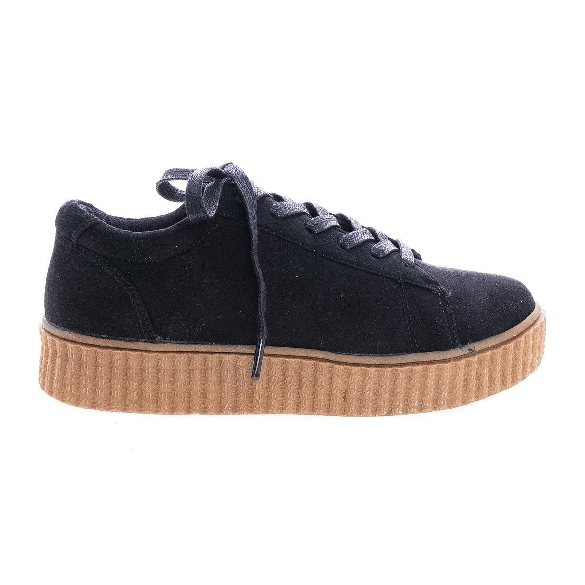 Stealthy01M Black Suede Classic Round Toe Lace Up Flats With Platform Ribbed Tooling Sneaker