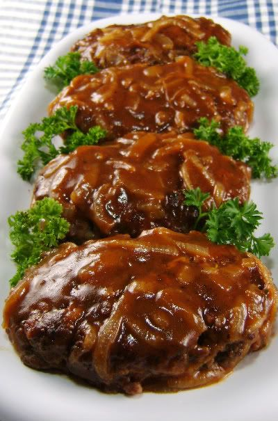 Salisbury Steak with Caramelized Onion Gravy. We double this recipe it is soooo good!