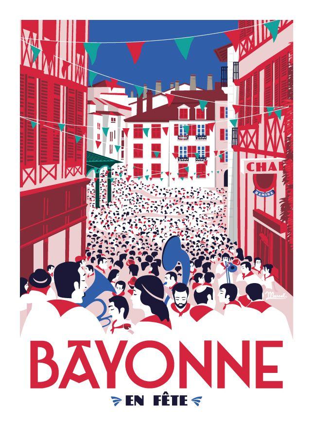 marcel bayonne en f te postcards pinterest affiches affiches. Black Bedroom Furniture Sets. Home Design Ideas