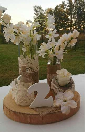 Centro de mesa casamiento 15 a os rustico vintage 170 - Centro de mesa rustico ...