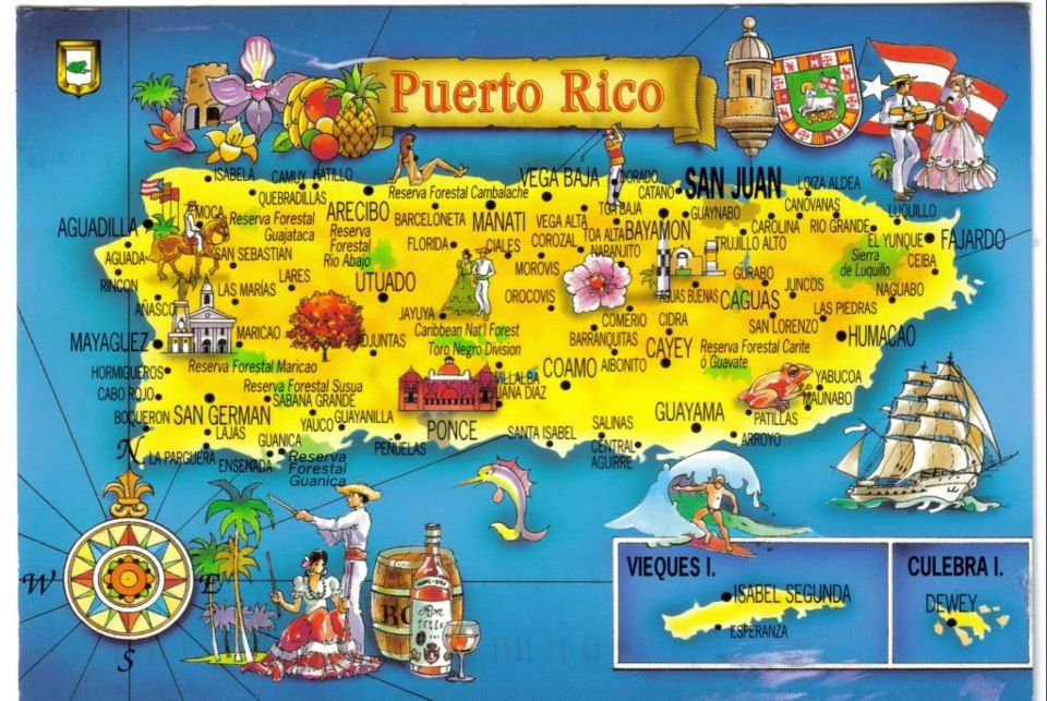 Cities mapped out en PUERTO RICO! | Puerto rico map, Puerto ...