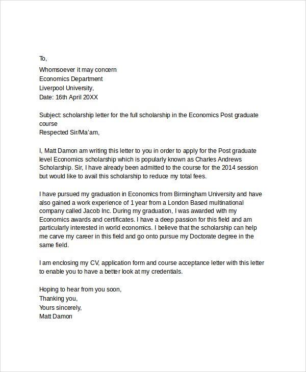 scholarship application letter applying for education job write ...