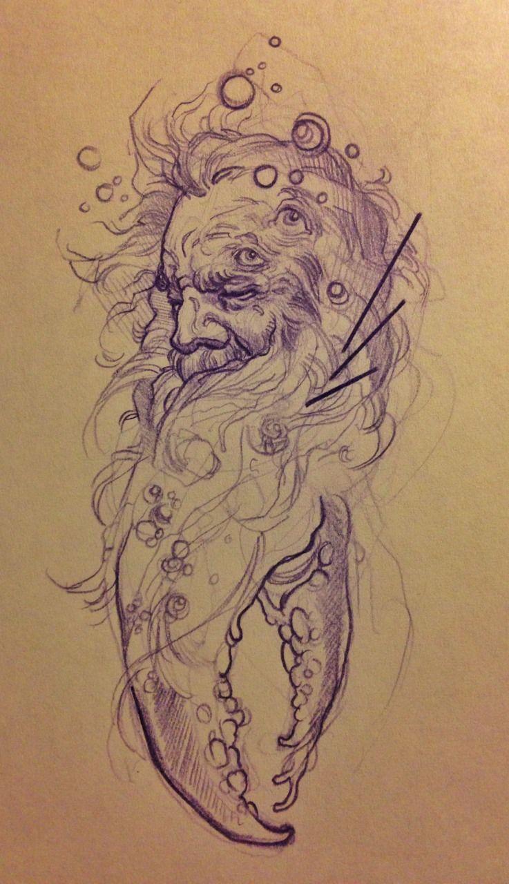 Bocetos De Tatuajes Tradicionales mike moses's ocean wizard, sketch | bocetos, dibujos y