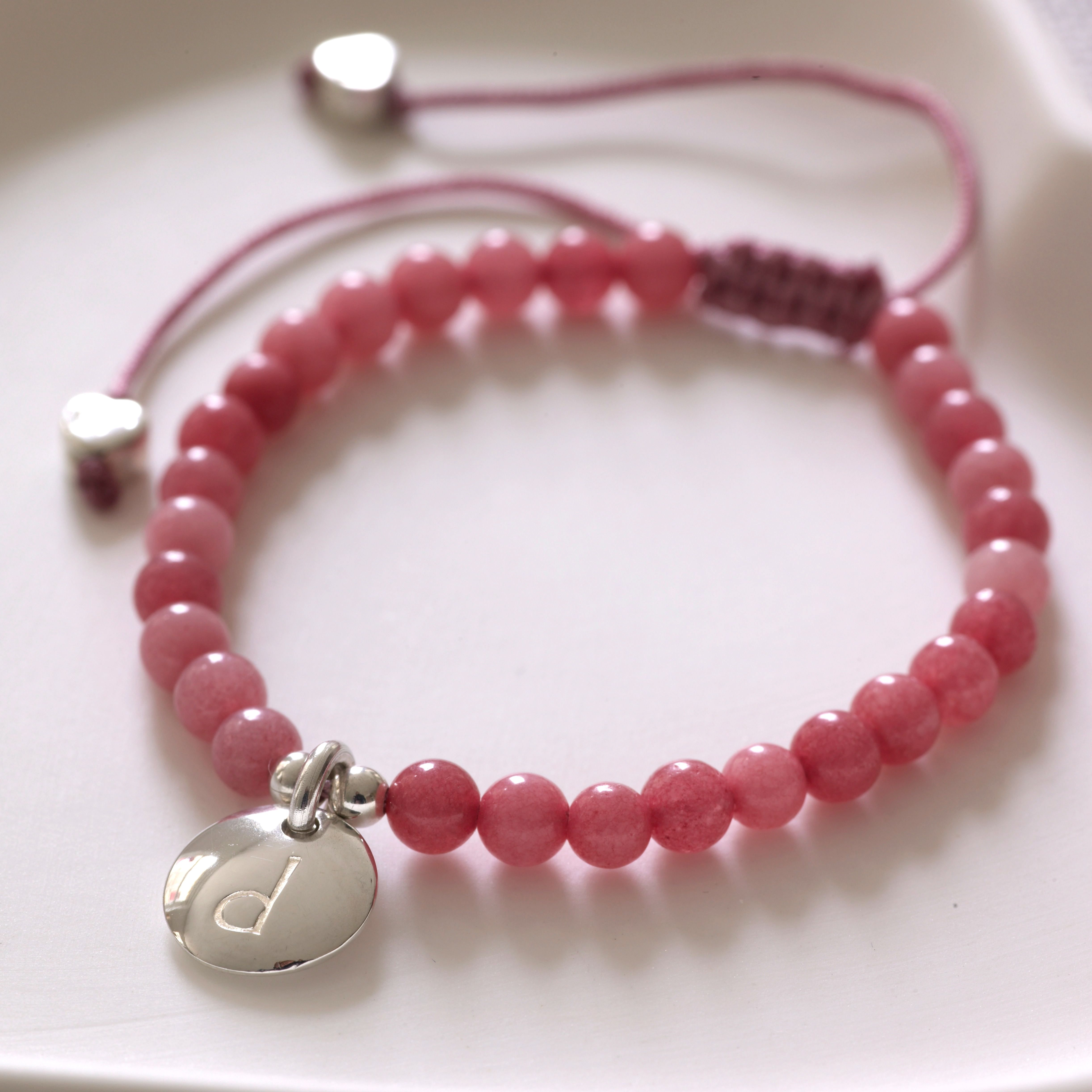 Lily belle girls personalised pink quartz friendship bracelet