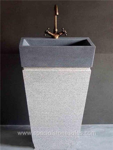 Volcanic Gray Stone Pedestal Wash Basins Sink Vanity Australia For Sale Factories Manufacturers Supplier Pedestal Sink Marble Bathroom Quartz Stone Countertops