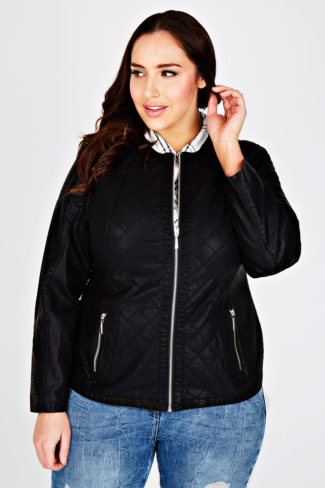 Plus size Faux Leather Jackets Women's Faux Leather