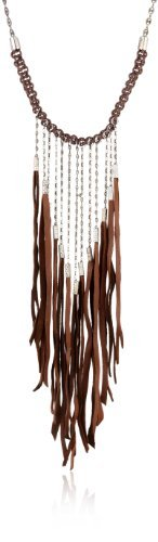 "The Montage Collection ""Timeless Curiosities"" Suede Fringe Necklace The Montage Collection. $355.61. Contrasting textures are the standout feature of the Maegan Leather Necklace from The Montage Collection.. Made in USA. This carefully handcrafted necklace features woven chocolate brown leather cords and hand cut strips of supple suede loosely dangling from gunmetal tone tubes and chains in tribal chic style."