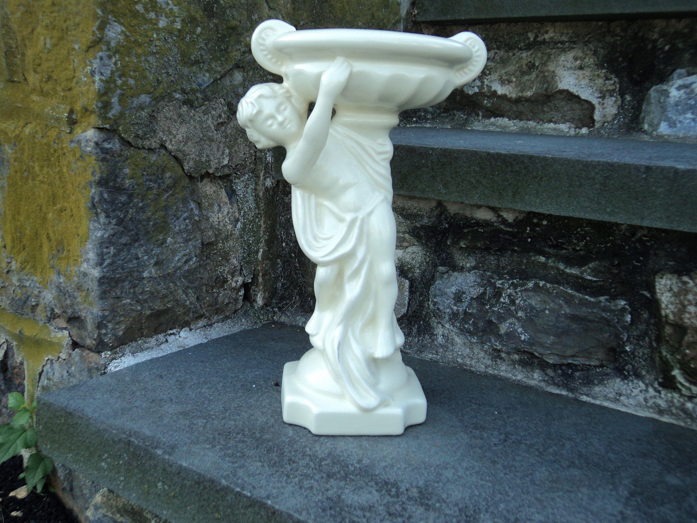 Haeger Ceramic Large Cherub Vase Compote Cream Color Garden Sculpture Ceramics Cream Color