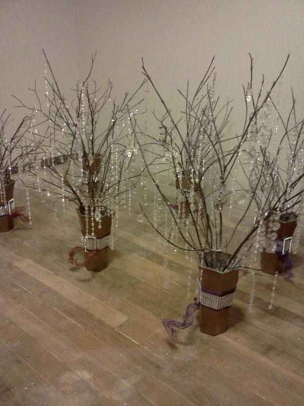 crystal tree branch centerpiece.....add feathers at base!