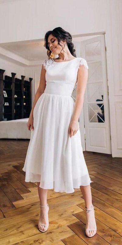 Informal Short Wedding Dress,Cap Sleeve Boho Wedding Dress