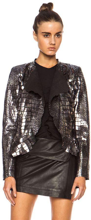 Isabel Marant Rami Shiny Leather Jacket in Silver