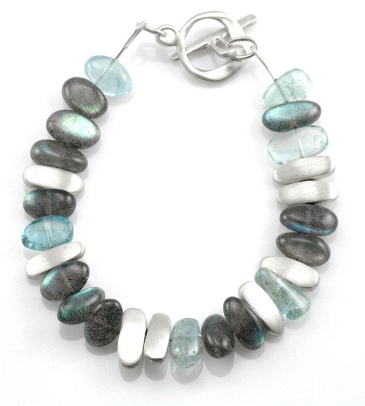 labradorite, aqua, nuggets. silver bracelet
