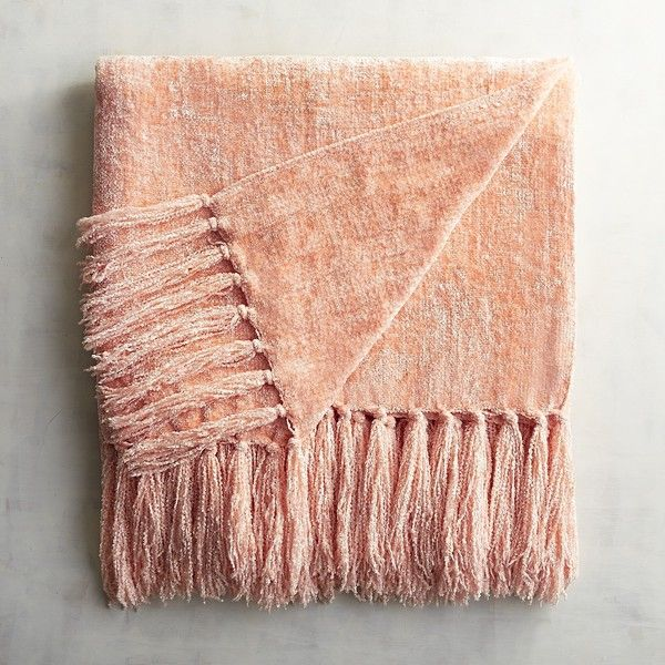 Blush Pink Throw Blanket Pier 1 Imports Blush Chenille Throw $40 ❤ Liked On Polyvore