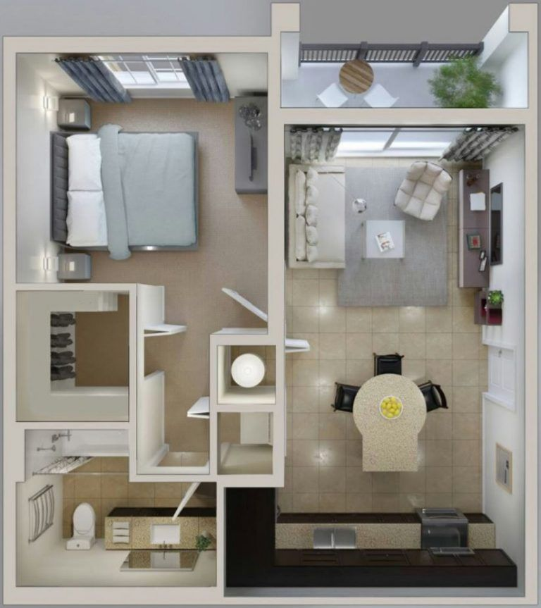 Departamento De 1 Dormitorio Con Balcon Y Bano En Suite Diseno