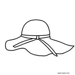 Black And White Summer Hat Clip Art Clip Art Summer Clipart Hat Clips