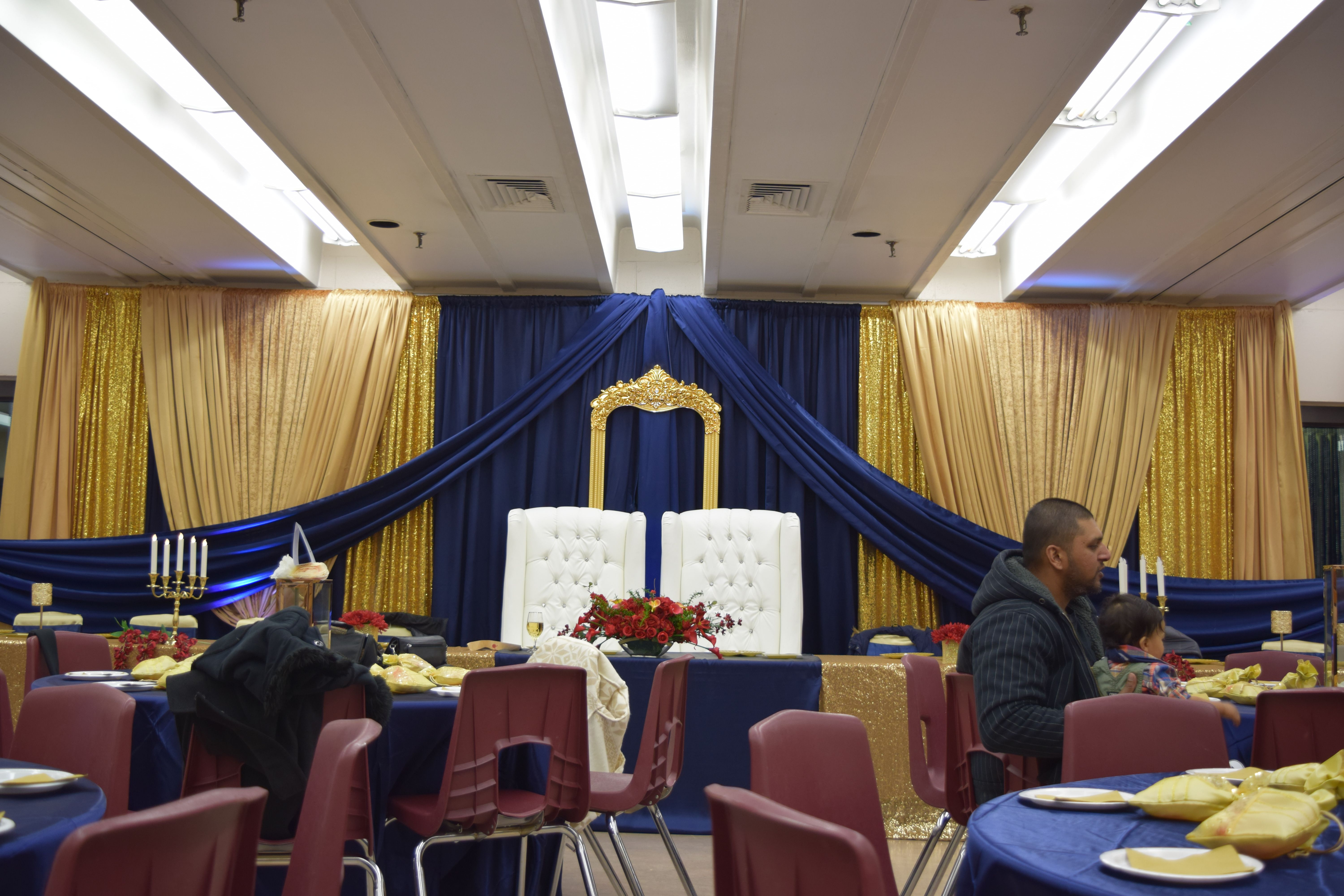 Backdrop Navy w gold for a Royal 75th Birthday. Another Fairytale by FCC Decor