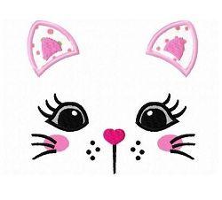 Three Applique Mittens with a Kitten Machine Applique Design