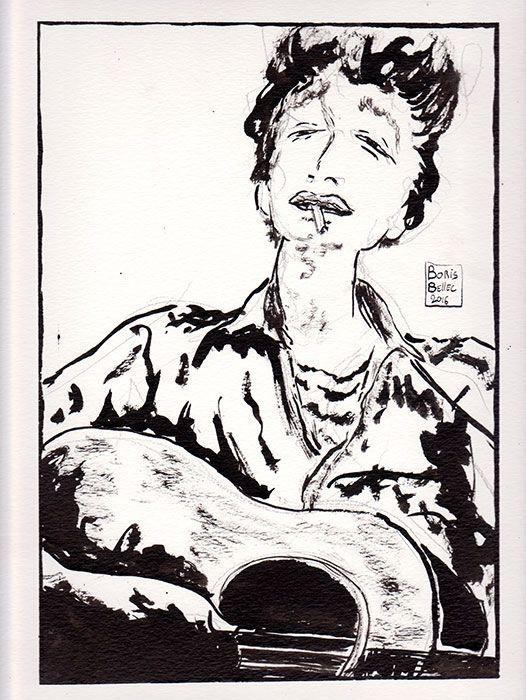 illustration bob dylan dessin michael ochs Bob Dylan Portrait With Acoustic Guitar & Cigarette