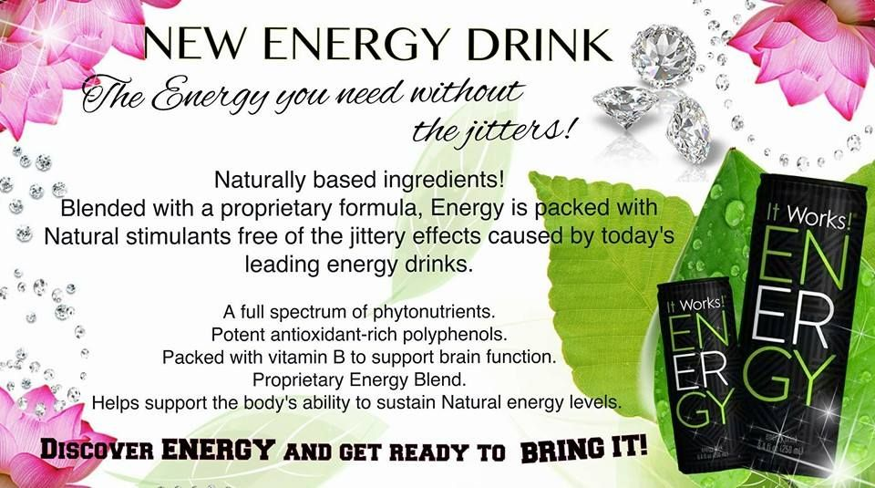 ENERGY Tastes like peaches, doesn't give you any jitters or crashes..all natural! www.angiemariewraps.com