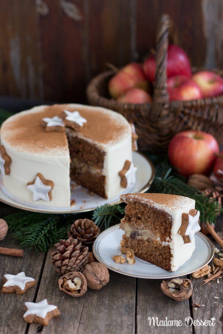 Photo of Tarta de manzana al horno de navidad en una capa de crema de canela | Madame Postre
