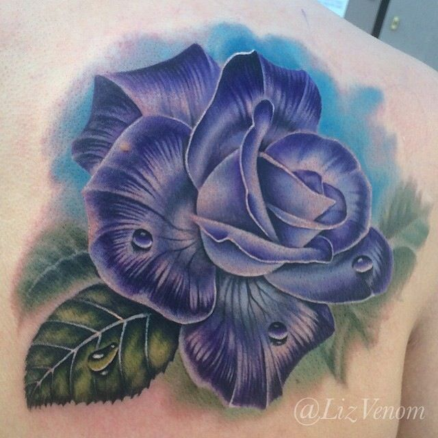 Vintage Venom Tattoo Thoughts: Amazing Purple Realistic Rose Tattoo By Liz Venom From