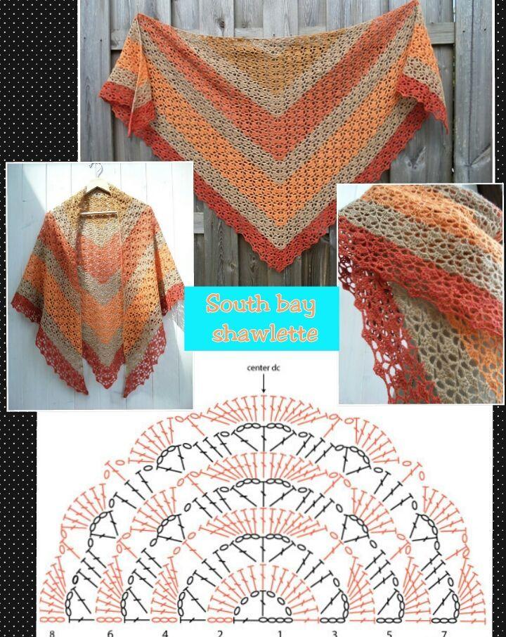 Crochet vêtement châle avec diagramme | crochet | Pinterest | Tücher ...