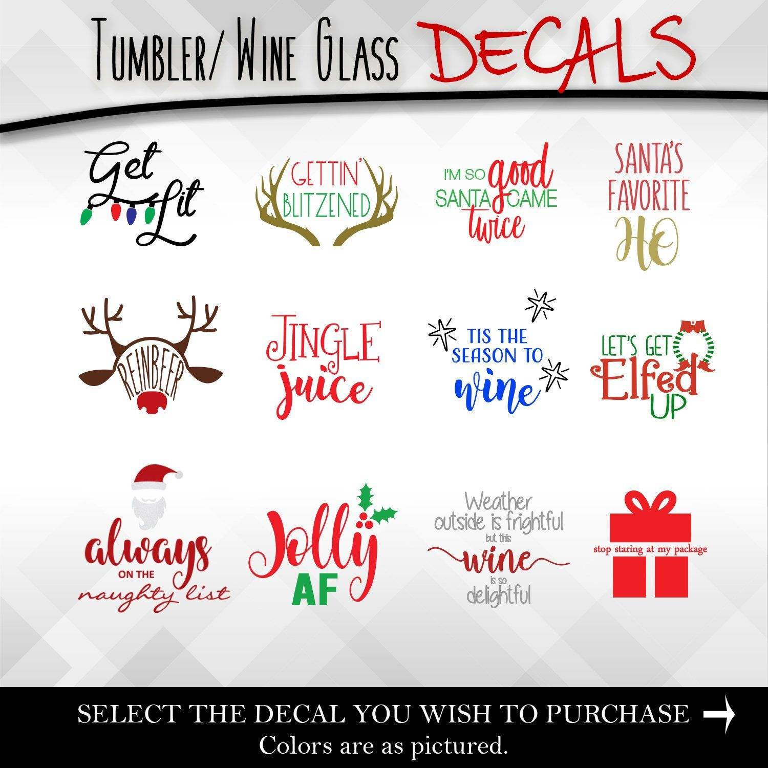 Merry Christmas Vinyl Decal Sticker for Wine Bottle Craft Glass Party