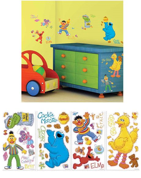 sesame street peel and stick wall decorations | playroom ...