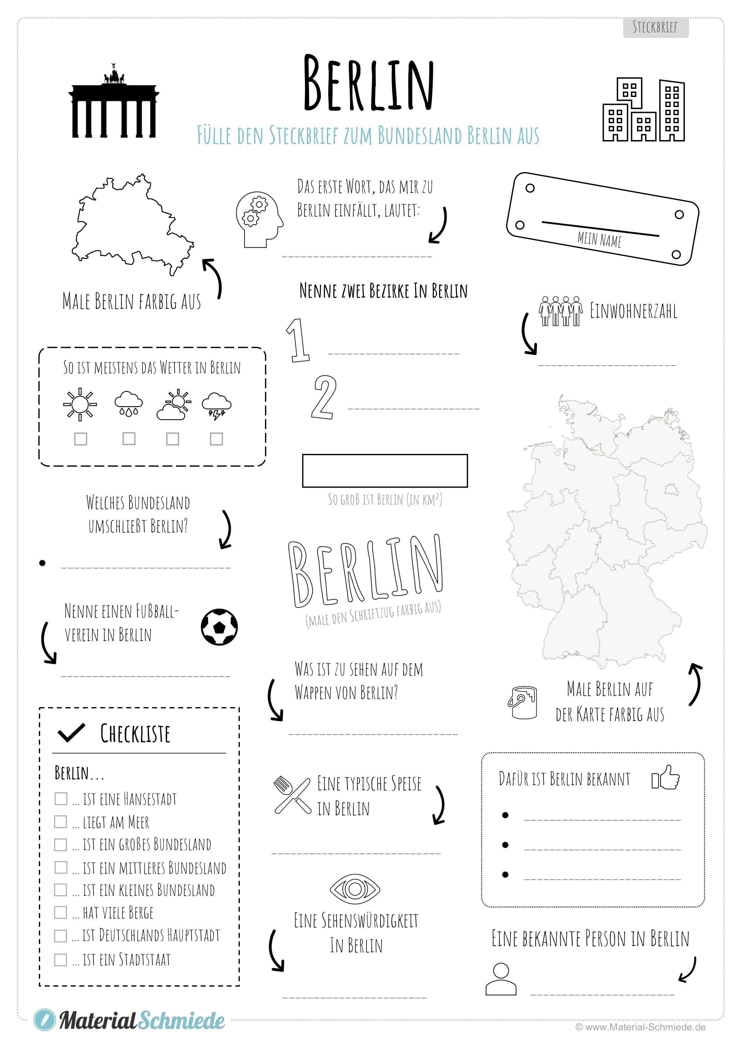 Steckbrief Bundesland Berlin Unterrichtsmaterial In Den Fachern Daz Daf Erdkunde Sachunterricht In 2020 Kostenlose Arbeitsblatter Steckbrief Arbeitsblatter