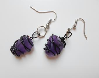 Amethyst earrings with jewellery wire