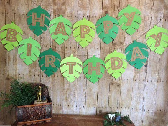 Jungle Birthday Banner/Safari birthday banner/Birthday banner/Leaf banner/Jungle birthday/Jungle par #boybirthdayparties