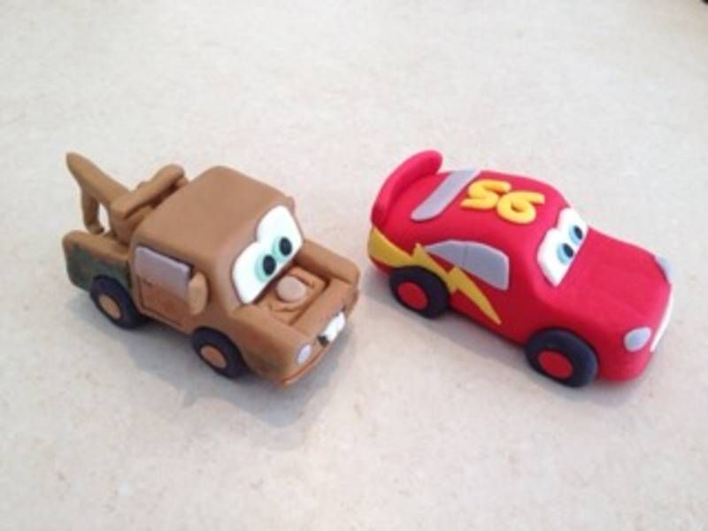 3D fondant Lightening McQueen and Mater duo cake toppers ...