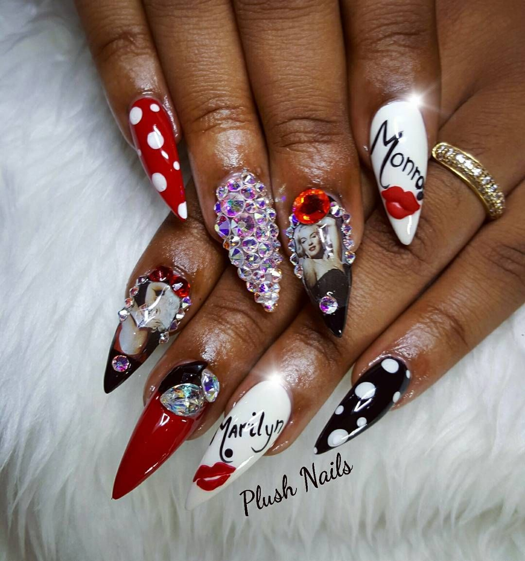 Marilinmonroe Red Black Nailsbenails Nailsonfleek
